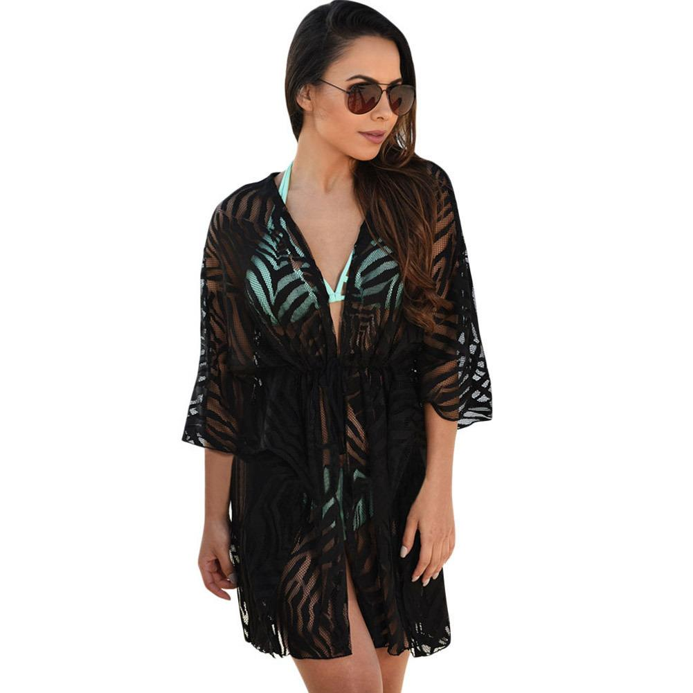 2016 New Beach Covers-Up 섹시한 블랙 화이트 동물 프린트 스트링 비키니 수영복 커버 여성용 여름 드레스 비치웨어