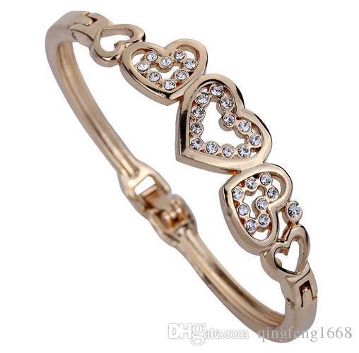 Großhandel heißer Verkauf Intarsien Diamant Herz-förmigen Schmuck stieg Gold Armband