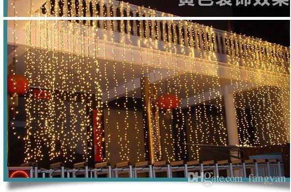 Бесплатная Доставка 4mx4m 512 Светодиодные Рождественские огни Струнные Водопад Занавес Световой Партия Фея Свадебный двор Xmas Hotel Hotel Holiday Украшение Лампы