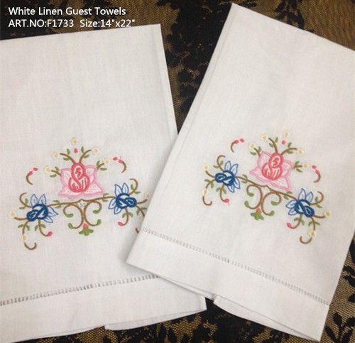 """Accueil Textile Linge de maison blanc Serviette de toilette pour femmes 12PCS / lot 14x22 """"Beaux bords brodés et surpiqués Serviettes de toilette en lin blanc"""