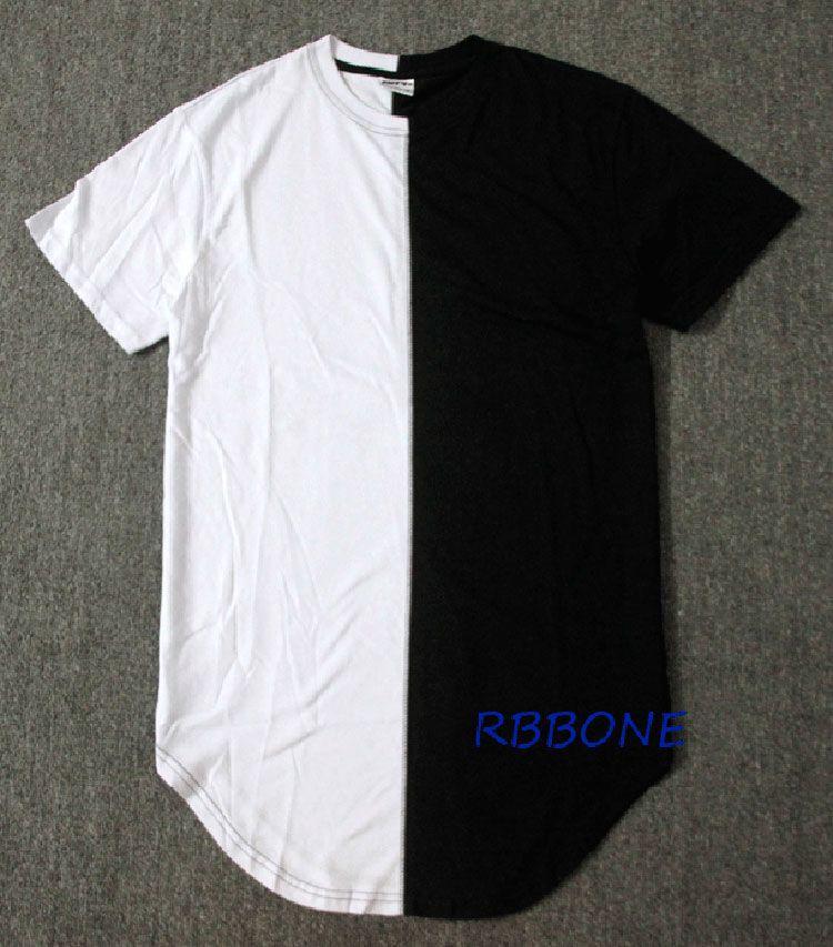 Wholesale- Halb schwarz weiß Neuer Mann-Sommer-Kleid-T-Stück Hip Hop Street Fashion T-Shirt-beiläufige kurze Hülsen-T-Shirt