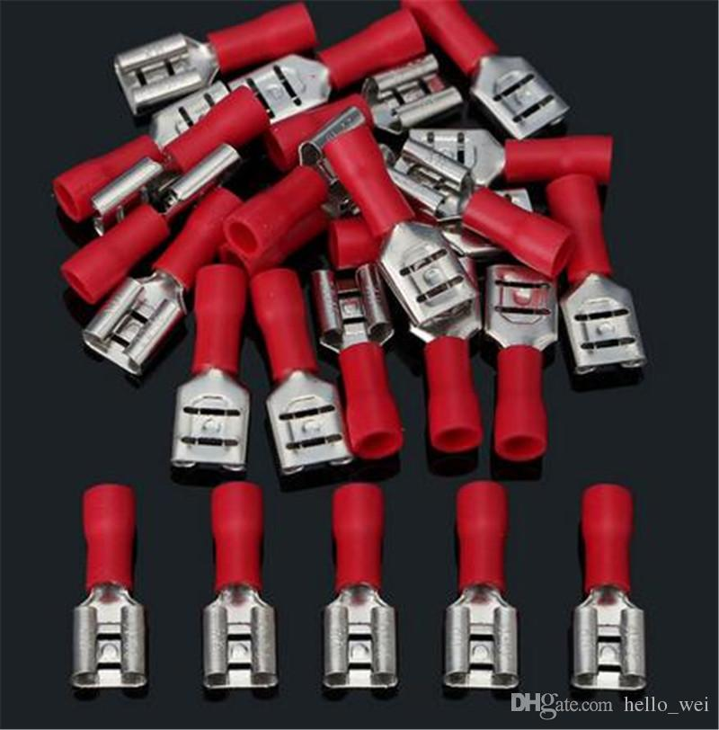 100Pcs Red 6.3mm Insulated Female Spade Terminal Crimp Wire Connector 22-18AWG !