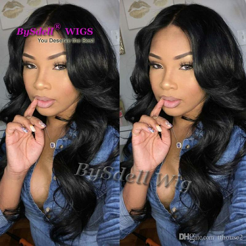 Hot Sales Synthetic Hair jet Black Body Wave Wig Glueless middle-part None lace wig/ Lace Front Synthetic Wigs For Women free hairnet