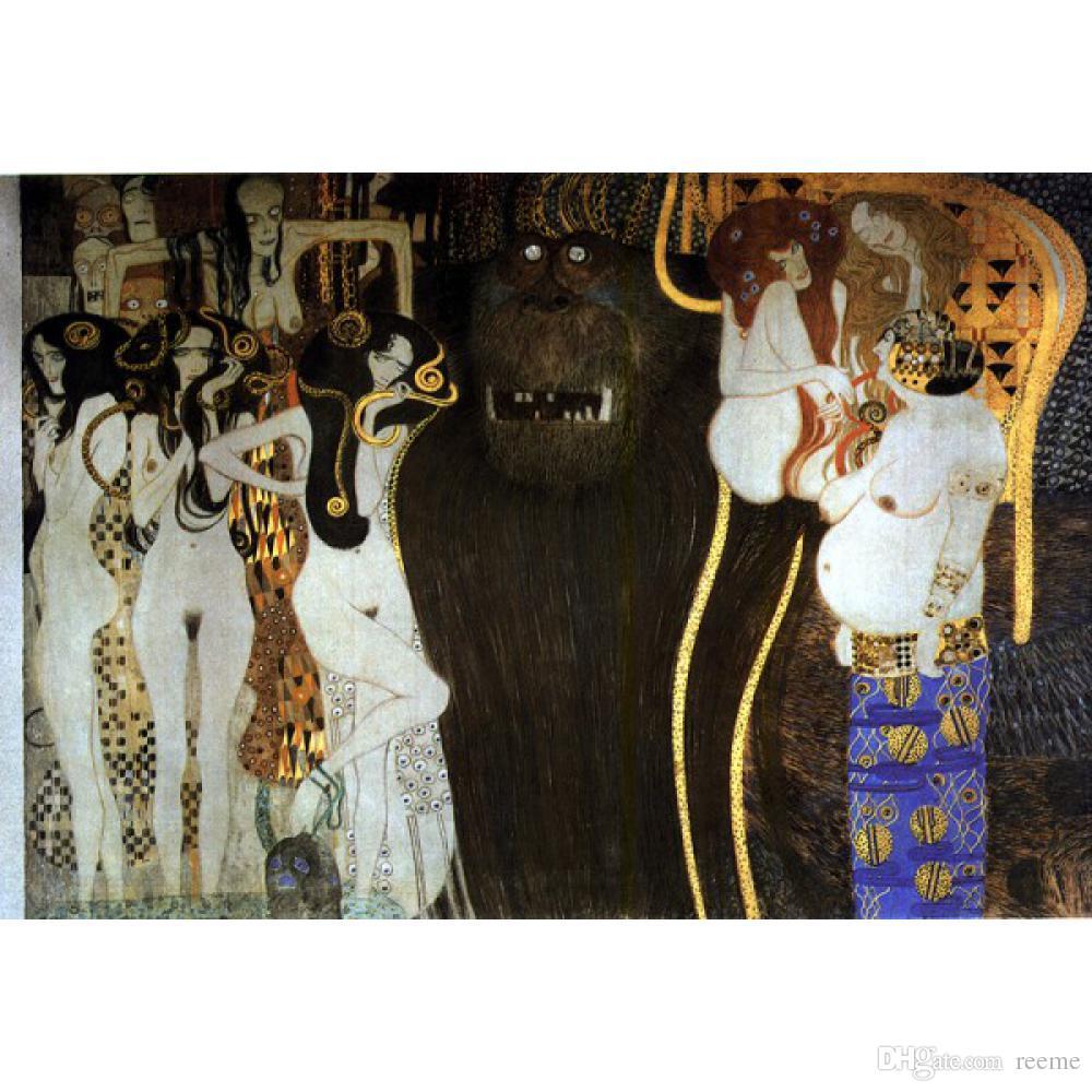 Famosos Gustav Klimt Beethoven Frieze Os Poderes Hostis Pintados À Mão Pinturas A Óleo da lona de reprodução de decoração Para Casa