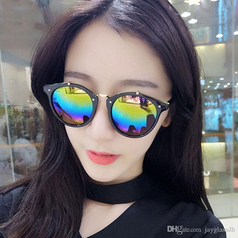 Объединенные очки Темперамент для солнцезащитных очков Классический Европа Раунд Новых Штатов Trend Женщины Мода Солнцезащитные Очки Ретро Длгда