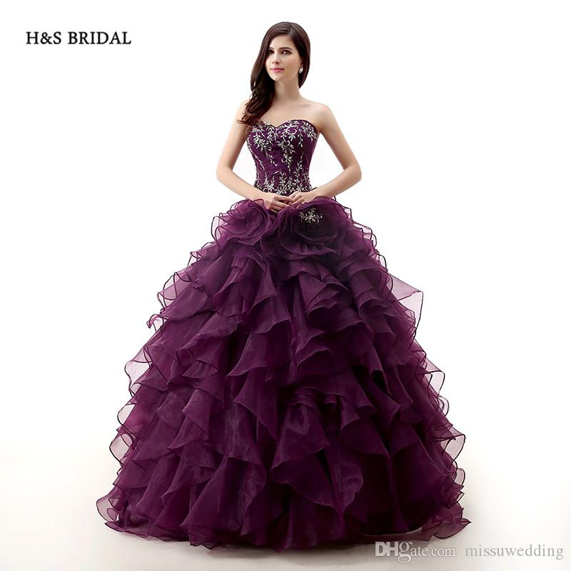 Real Model Photos Dark Purple Rose Organza Ball Gown Prom Dresses ...