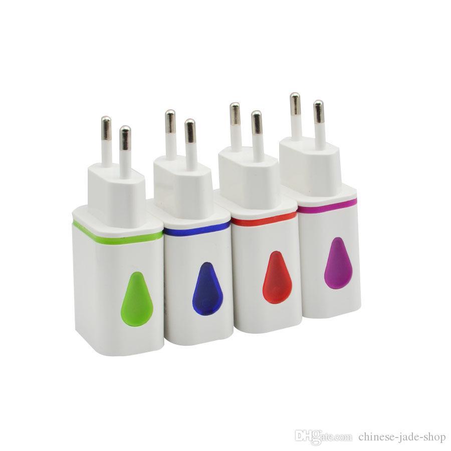 Waterdrop Dual USB Wall Charger 1A EU US Plug Plug adaptateur pour téléphone intelligent pad 100pcs / lot MIX COULEUR
