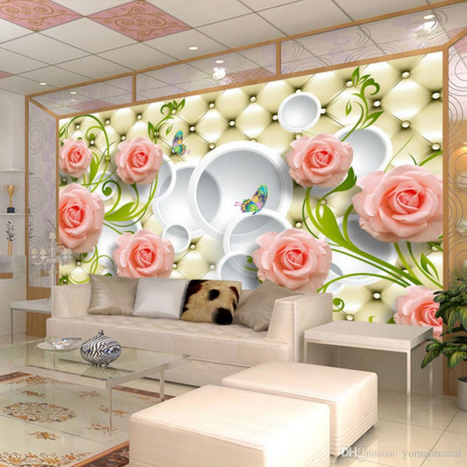 Photo Wallpaper Romantic Painting Pink Stereoscopic Rose Flower Romantic Living Room Bedroom Wall Paper Luxury Wall Mural Wallpapers Backgrounds
