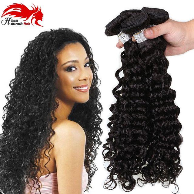 Hannah prodotto 2016 Top capelli umani ricci profondi brasiliani onda profonda capelli vergini 3 pacchi 7a estensione dei capelli umani tessuto onda profonda