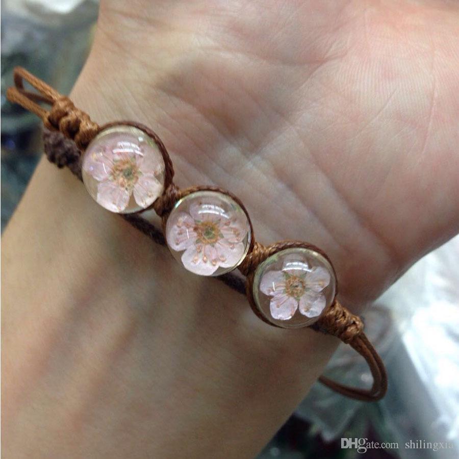 12 mix style/lot Handmade Crystal Dried Flowers Bracelets Plant Specimens Chains Creative Charm Bracelets