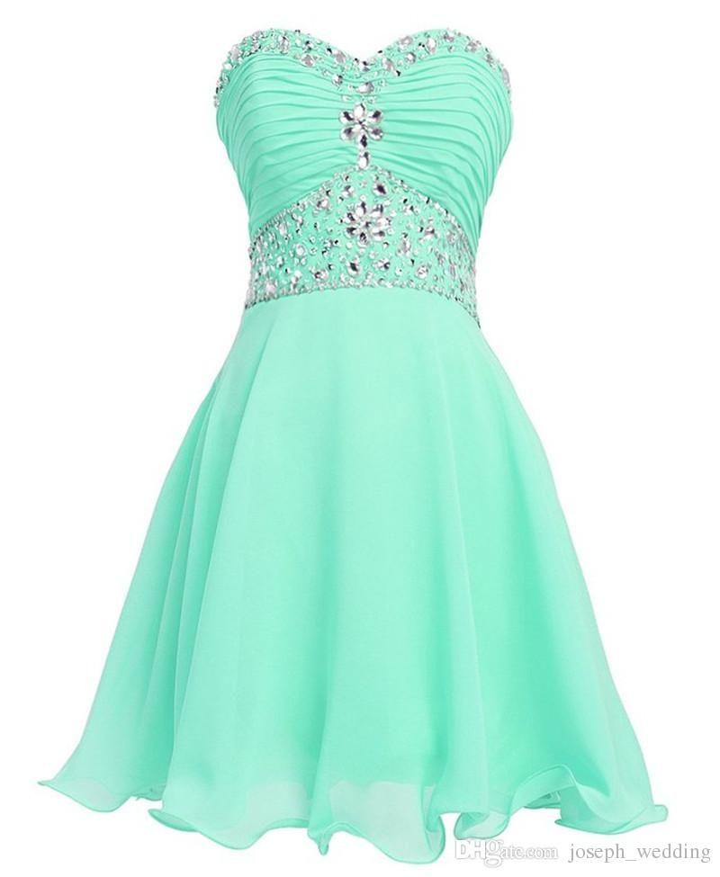 Vestidos de damas de honra Menta Verde Vestido de Cristal Curto Vestidos de Formatura 2016 Vestido De Formatura Curto Barato Homecoming Vestido para Adolescentes