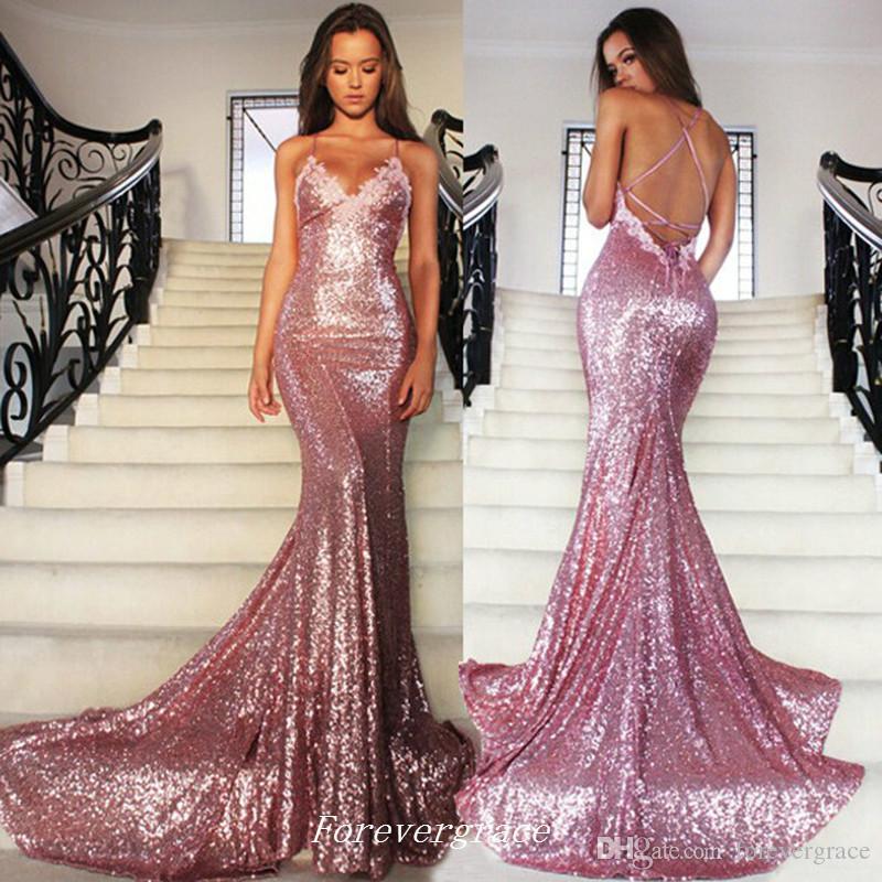 Zarif Pembe Payetli Uzun Abiye Mermaid Spagetti Kayışı Sweep Tren Özel Durum Elbise Parti Kıyafeti Custom Made Artı Boyutu