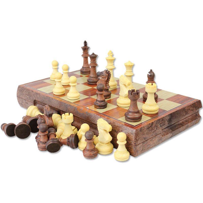 International Chess Checkers Folding Magnetic High-grade legno WPC grano scacchiera Gioco versione inglese (M / L / XLSizes)