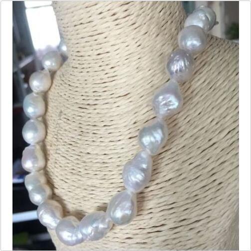 """herrlich 14-15mm Südsee keshi barocke weiße Südsee keshi barocke weiße Südsee keshi barocke weiße Perlenkette 18"""" 14k"""