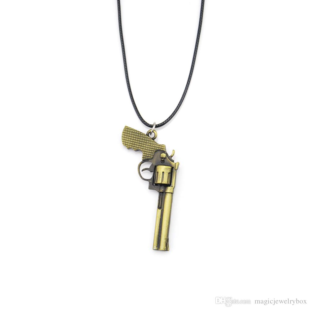 New Counter Strike Leather Chain Men's Revolver Choker Necklace Vintage Gold CS GO Gun Necklace Men Jewelry Souvenir Gift