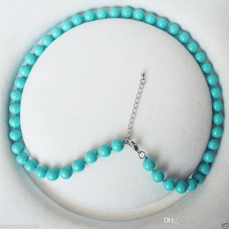 8mm runde türkis blaue farbe shell perle mode halskette 18 ''