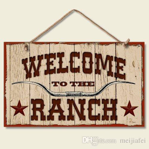 Bienvenue sur la plaque Western Ranch Sign, la plaque suspendue Rangerland, panneau en bois pour la décoration du signe Ranch