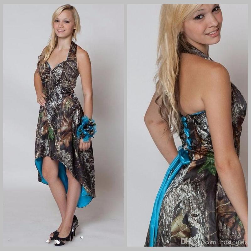 블루 카모 들러리 드레스 2020 짧은 전면 긴 돌아 가기 웨딩 파티 드레스 위장 메이드 명예 가운 고삐 하이 - 로우