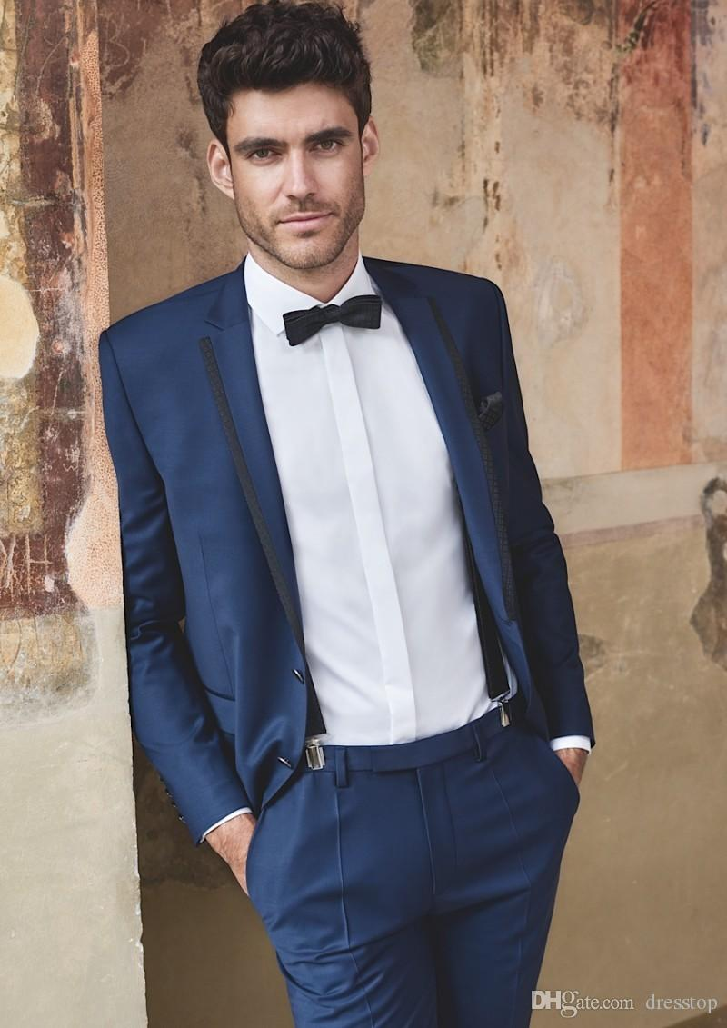 Navy Blue Tuxedo Men Wedding Suits With Bow Tie Groomsmen Suits Custom Made  Two Pieces Formal Suit Tuxedos For Groom White Prom Tuxedos From Dresstop,