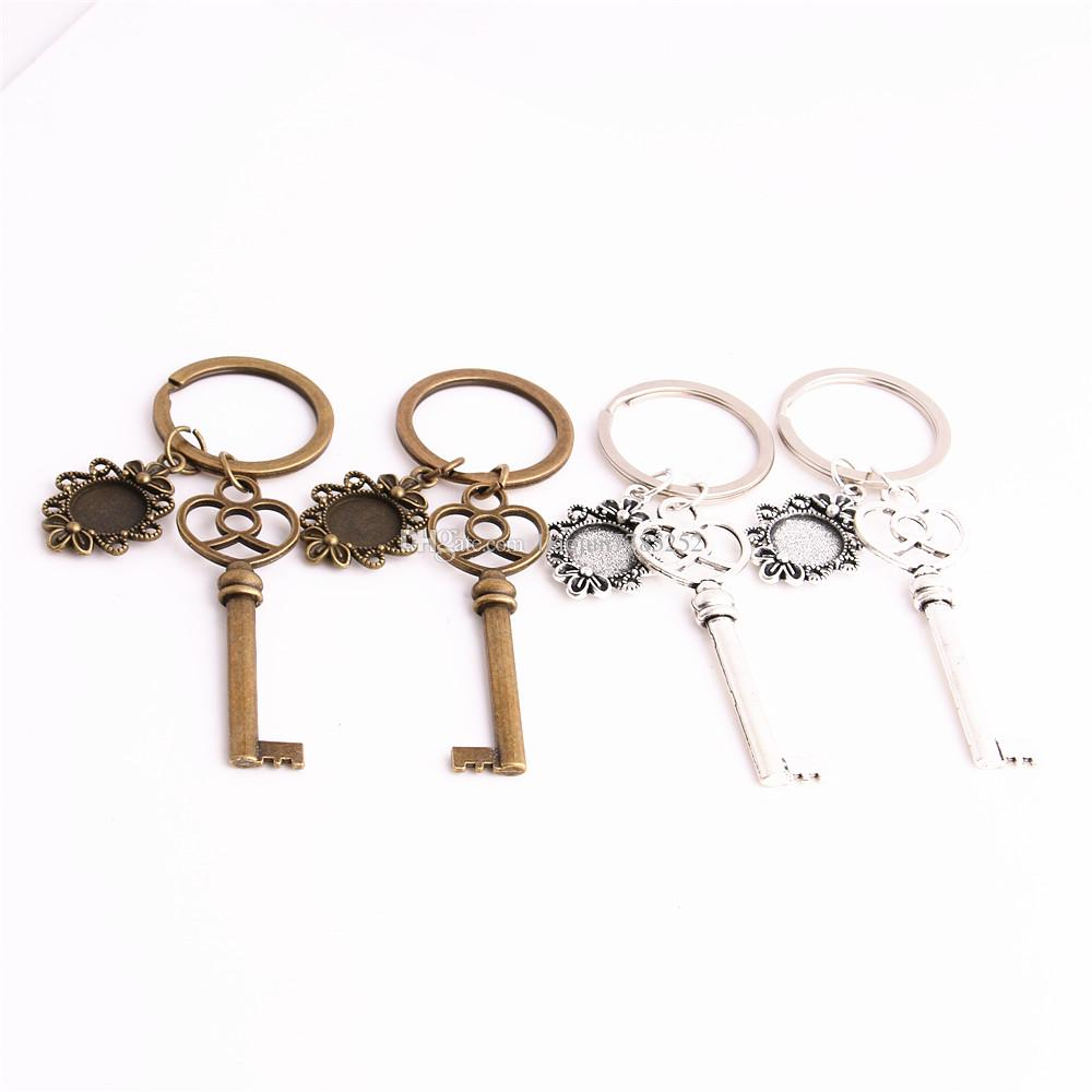SWEET BELL 3pcs/lot Metal Alloy Zinc Key Chain Fit Round 12.5mm Cabochon Base Key Charm Pendant Jewelry Making C0899