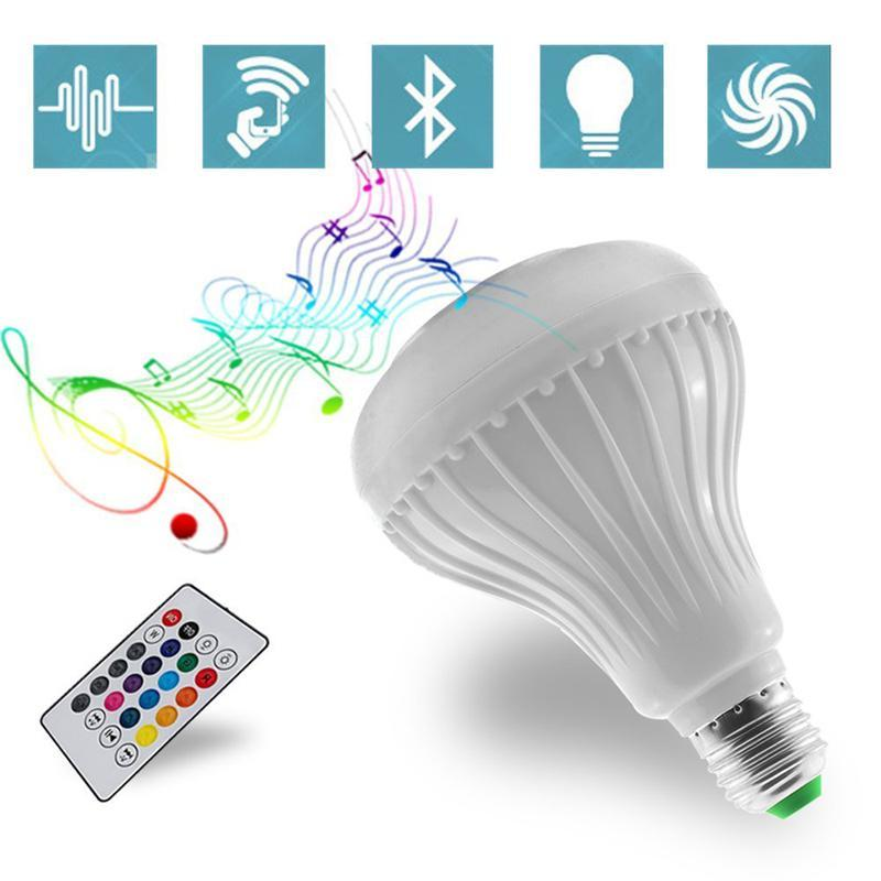 E27 RGB Led Bulb 85~265V Bluetooth Speaker Bulb Music Playing Dimmable 12W E27 LED Lamp Light with 24 Keys Remote Control