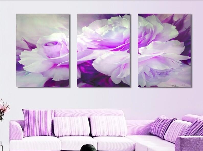 Бесплатная доставка 3 шт. стены искусства Белый Фиолетовый любовник цветок большой идеальный холст стены искусства на холсте картины современной картине домашнего декора
