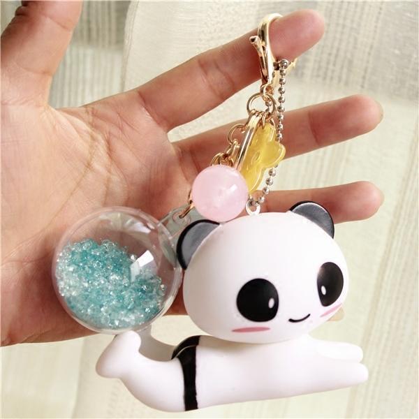 Il panda supporto cellulare fiore ornamenti palla di cristallo appeso borsa portachiavi pigro supporto del telefono mobile funzione più creativo