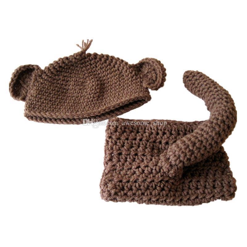 الجدة القرد الوليد حلي ، اليدوية الكروشيه بيبي بوي فتاة الحيوان قبعة ، غطاء حفاظه مجموعة ، أطفال هالوين زي ، الرضع طفل صور الدعامة