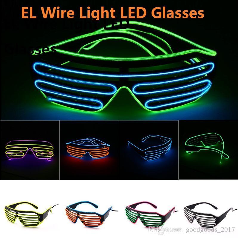 EL Wire Light LED Glasses Bright Light Party Glasses Club Bar Performance Glow Party DJ Dance Eyeglasses 11colors 30pcs M937