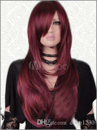 Uzun Düz Saç Peruk Yeni Koyu Kırmızı Mix kadın Peruk ücretsiz kargo