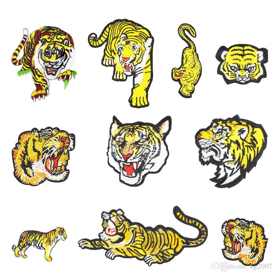 10 PCS/set Tiger Embroidered Patches for Clothing Iron on Transfer Applique Insect Patch for Jacket Jeans DIY Sew on Embroidery Sticker