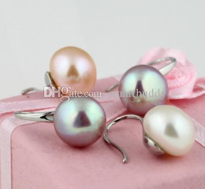belle naturelle 9-10mm mer du Sud blanc rose violet perle boucles d'oreilles 3pair / lot
