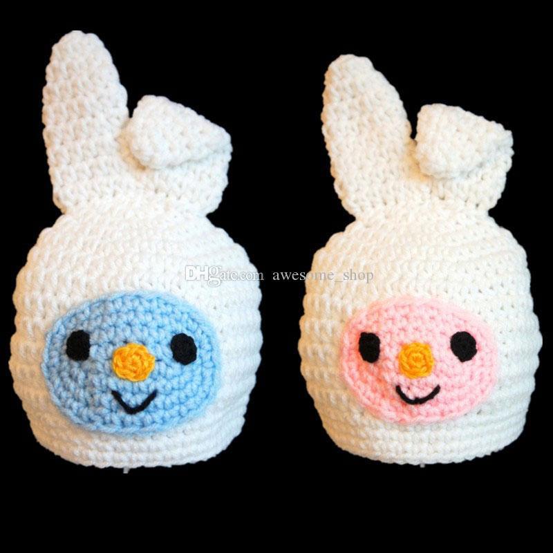 Lovely White Easter Bunny Hat,Handmade Knit Crochet Baby Boy Girl Twins Animal Hat,Child Winter Cap,Kids Toddler Photo Prop