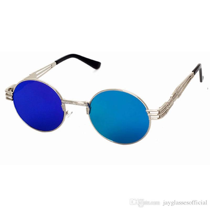 القوطية steampunk خمر نظارات الرجال النساء المعادن wrapeyeglasses جولة ظلال ماركة مصمم النظارات مرآة عالية الجودة uv400