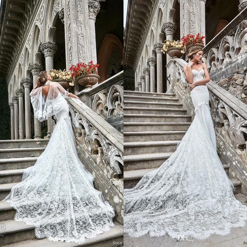 Gorgeous 2017 Solo Merav Lace Sweetheart Backless Mermaid Wedding Dresses With Wrap Lace Applique Chapel Train Bridal Gowns EN11124