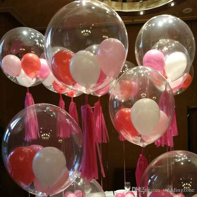18 inch Transparent PVC Latex Balloons Party Ballons Decoration For Wedding Dinner Christmas Eve With Free Shipping