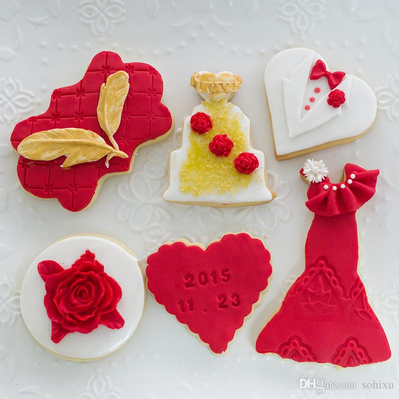 6pcs Wedding Decoration Kitchen Accessories patisserie gateau reposteria Cookie Cutters Molds Metal Fondant Cake Tool Biscuit Pastry Cupcake