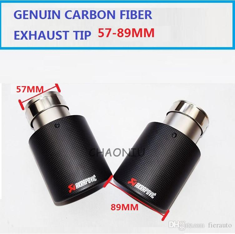 10pcs Carbon Fiber Coated Stainless Steel Universal Car Exhaust Pipe Tip Tailtip 57mm /89 mm Akrapovic Car Exhaust Matte Black