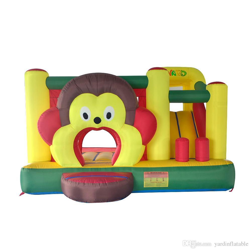 YARD In Stock Satılık Karikatür Maymun Şişme Bouncer Bouncy Castle Jumper Combo İçin Aile Partisi