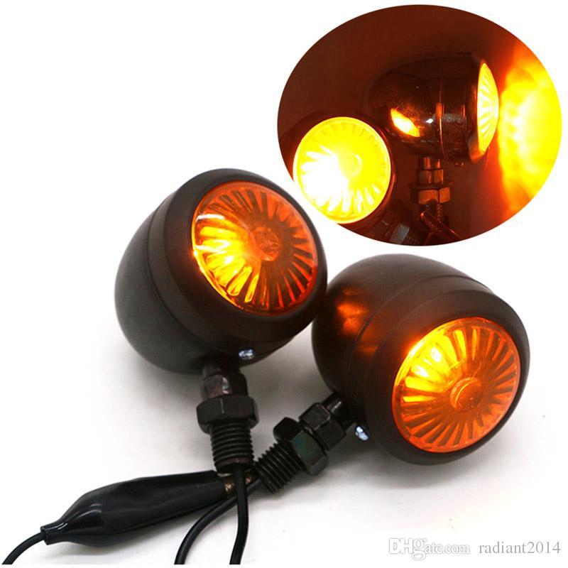 4PCS Metal Motorcycle Turn Signal Indicator Lâmpada de luz para Harley / Cafe / Racer