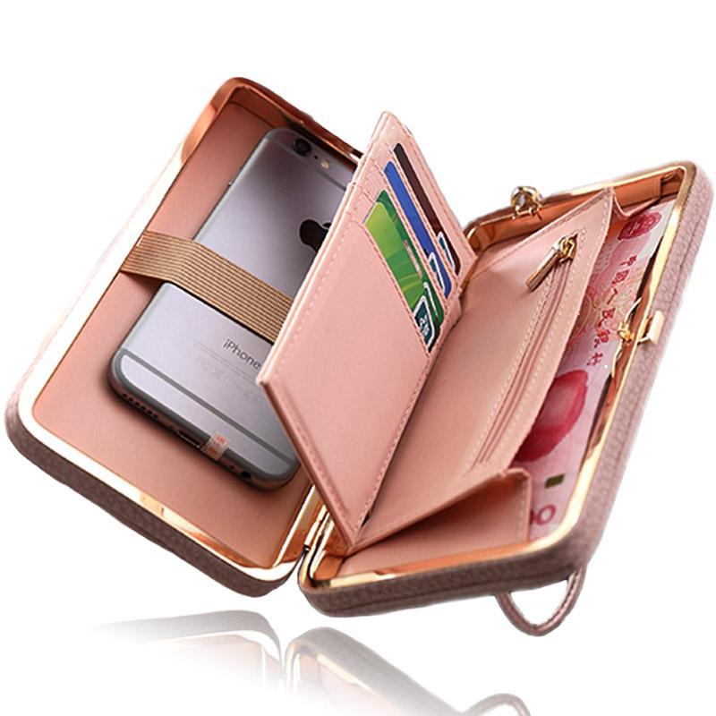 Funda para teléfono con monedero para mujer para Iphone 7 6 5 4 S 6s 5s 4s Plus para Samsung Galaxy S8 S7 S6 Edge S5 J3 J5 A3 A5 2017 2016