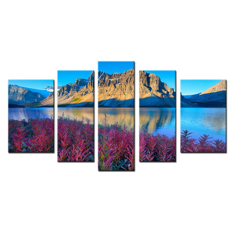 5 Panels Landscape Canvas Painting Beautiful Mountain Lake Scenery Picture Print with Wooden Framed Wall Art For Home Decoration