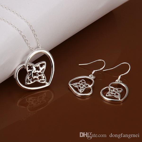 925Sterling Solid Silver Fashion Key Earrings Necklace Jewelry Sets S199