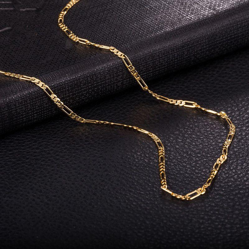 comprare popolare aa5f5 062a8 Acquista Vendita Calda 18K Oro Giallo / Oro Rosa Placcato Uomini Collana  Sottile 3: 1 2MM 470MM Figaro Catena Collane Uomo Donna NL 133 A $2.02 Dal  ...