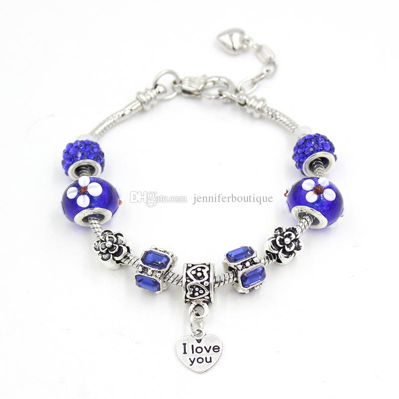 Newest DIY Flower Lampwork Murano Glass Bead Bracelet Letter Engraved I love you Heart Charm Bracelets for Women Jewelry Gift Pulsera Bijoux