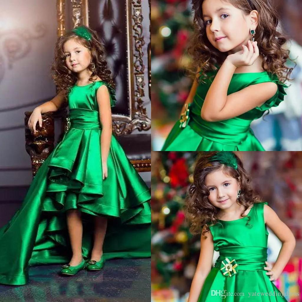 Scoop Neckline Green Flower Girls Dresses Back Zipper High Low Back Zipper With Sashes Custom Made Formal Party Gowns Girls Pageant Dresses