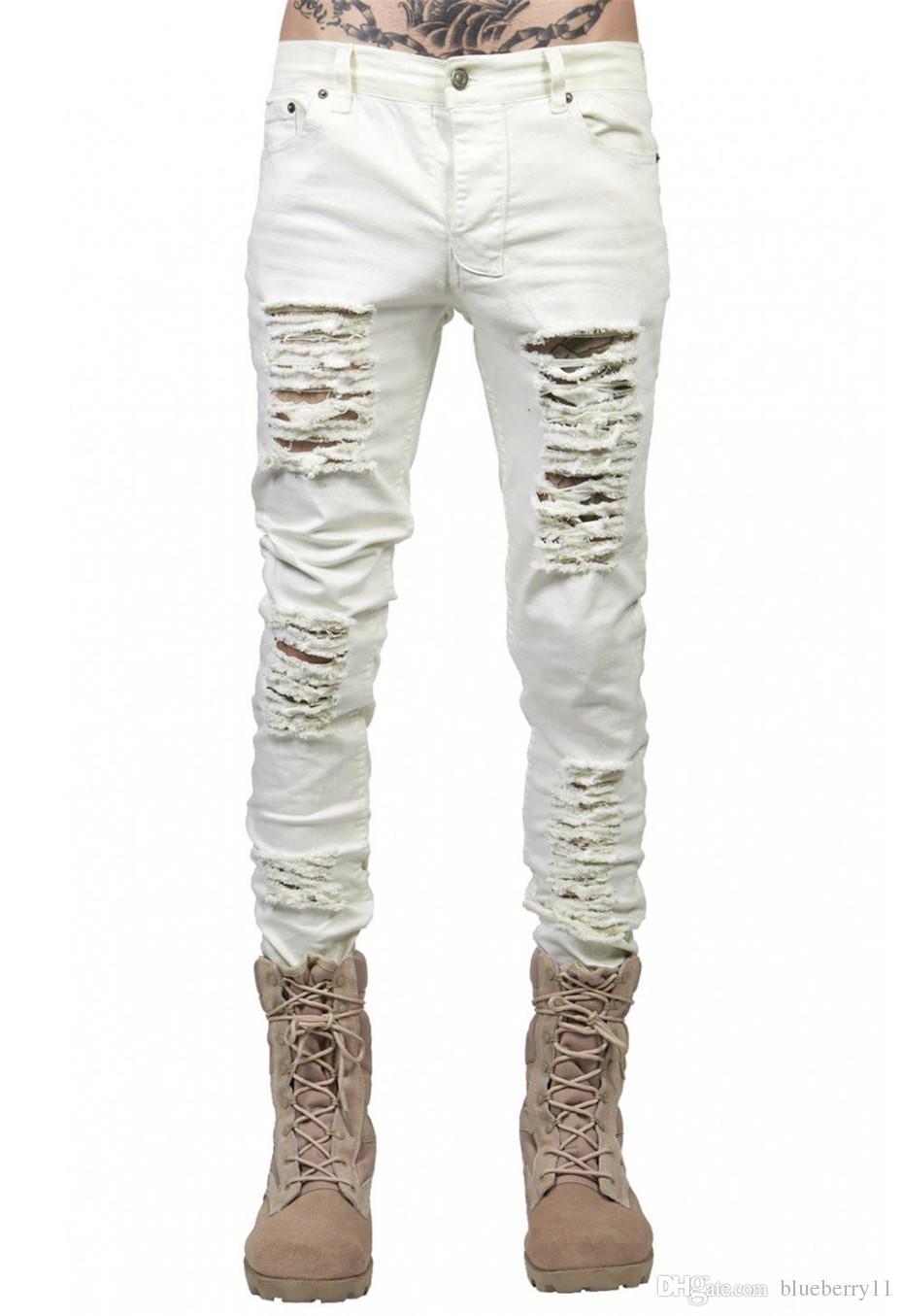 moda erkek kot erkekler için kot Sıkıntılı ince motorcu kalça hop yağma siyah / beyaz ince pantolon boyutu 28-38 sıska yırtık