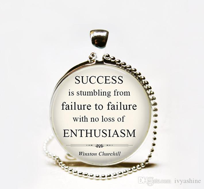 Wholesale Churchill Success Is Stumbling From Failure To Failure Quote Pendant Funny Quote Humorous Quote Inspirational Necklace Long Necklaces Fine