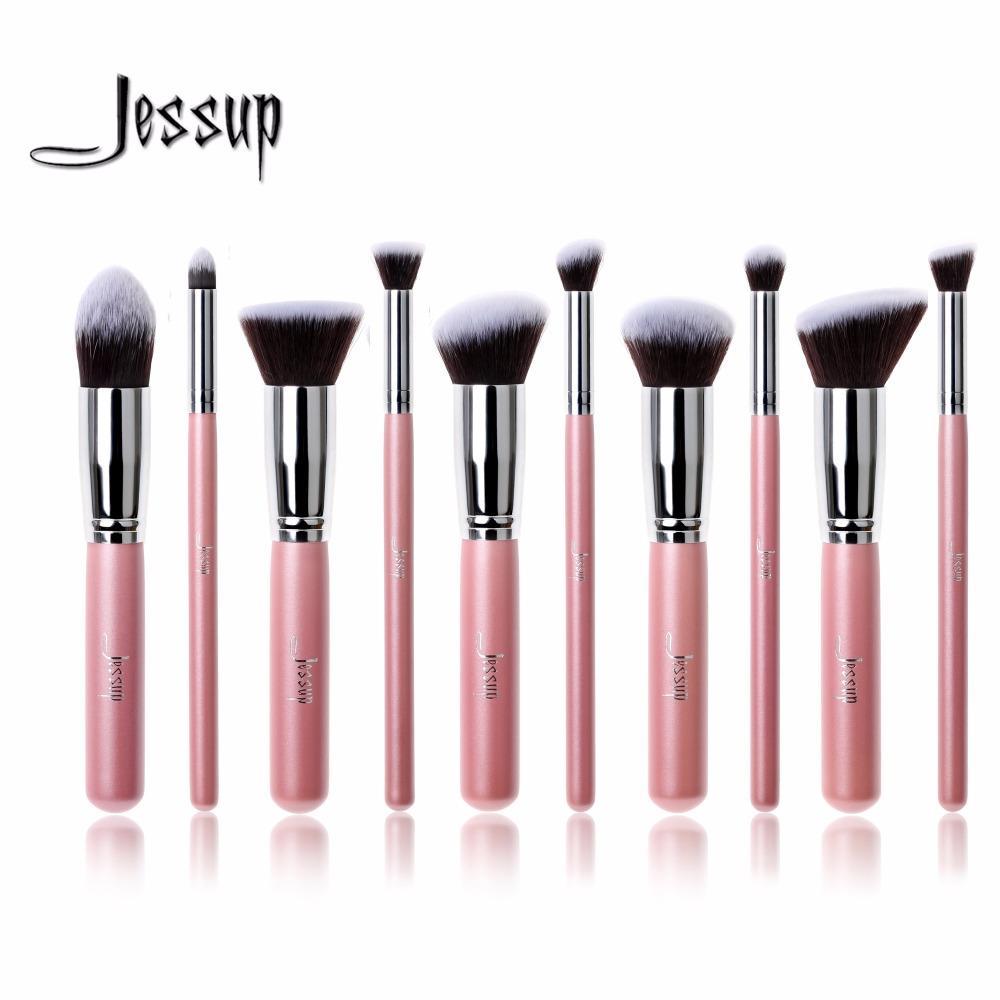 Gros-Jessup 10 Pcs Professionnel Maquillage Brosses Set Fondation Blusher Kabuki Poudre Ombre À Paupières Mélange Sourcils Brosses Rose / Argent