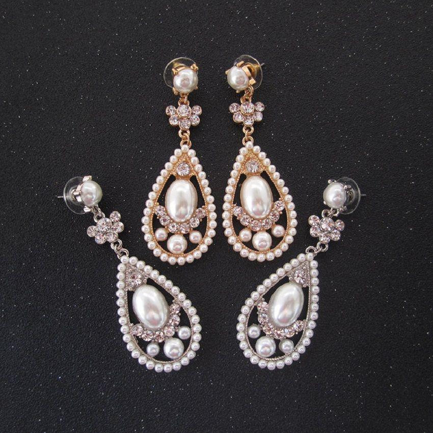 Retro Gold blue Rhinstone women lady club drop stud earrings Jewelry Accessory